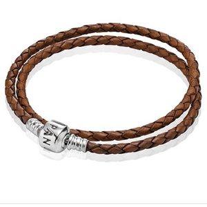 Pandora Jewelry - Pandora brown leather double wrap bracelet